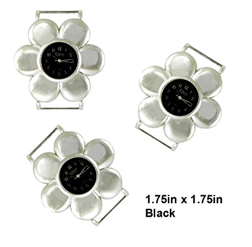 TVT 2pcs Flower Ribbon Watch Faces for Your Interchangeable Beaded Bands TVT-4159 (Black)