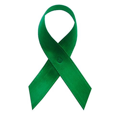250 USA Made Emerald Green Satin Awareness Ribbons - Bag of 250 Fabric Ribbons with Safety Pins (Many Colors Available) -