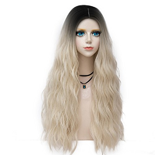 Probeauty Forest Lady Collection Long Dark Root Curly Cosplay Wig for Women, Pale Blonde