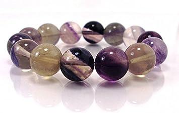 Pulsera de cuentas Fluorite de 14 mm, pulsera de gemas naturales, unisex, pulsera para hombres y mujeres, pulsera de cuentas hecha a mano de 19 cm