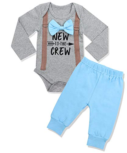 Newborn Baby Boy Clothes New to The Crew Letter Print Romper+Long Pants 2PCS Outfits Set 0-3 Months