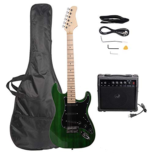 ISIN Full Size Electric Guitar for Music Lover Beginner with Amp and Accessories Pack Guitar Bag (green)