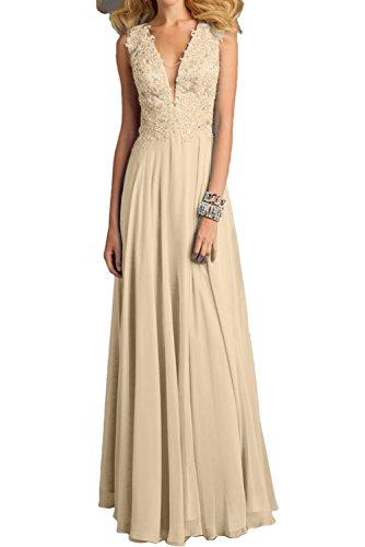 Lang Champagner Damen Ballkleider Ivydressing Promkleider Neck Applikation Neu Abendkleider Paillette V 04cc1Wp
