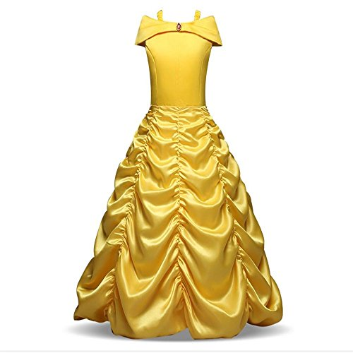 Quality.A Halloween Show Dress Cosplay Sleeveless Princess Dress Girl Dress(Yellow 120cm(4-5 Years))