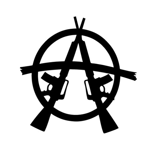 Anarchy Guns Vinyl Decal Sticker | Cars Trucks Vans Walls Laptops Cups | Black | 5.5 inches | KCD1331