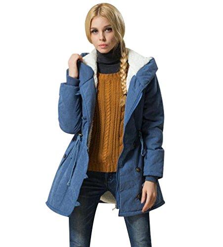 Parka Manteau Longue Femme Capuche Veste Blouson Hiver Parkas Long Rembourr Manteau  Capuche Drawstring Militaire Chaud Jacket Bleu