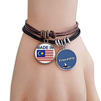 YMNW Made Malaysia Country Love Friendship Bracelet Leather Rope Wristband Couple Set Estimated Price -