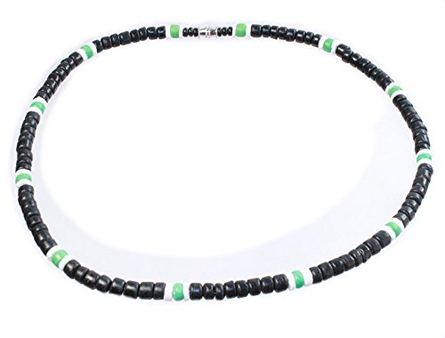 Black Coco Bead Hawaiian Surfer Necklace with White Puka Shell and Lime Green Coco Bead Accents, Barrel Lock (20)