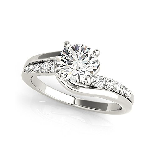 0.75 Ct Round Cut Moissanite Diamond Engagement Ring 925 Sterling Silver...