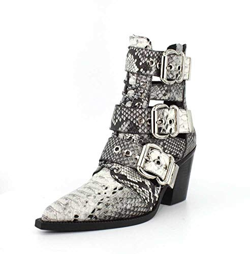 - Jeffrey Campbell Womens Caceres Black White Snake Boot - 9.5