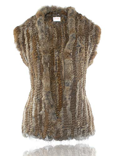 HEIZZI Knitted Cardigan 100% Rabbit Fur Natural Brown