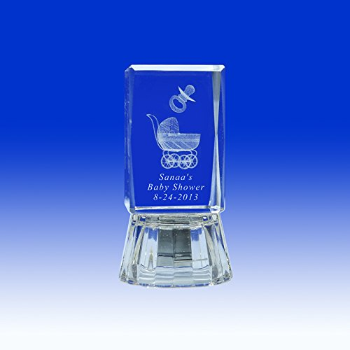 12 pcs Personalize Custom Laser Etched Engraving 3D Baby Carrige, & Pacifier Crystal Glass Cube for Baby Shower (2.5