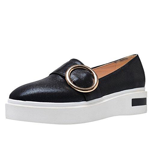 Latasa Dames Slip Op Loafer Flats Schoenen Zwart