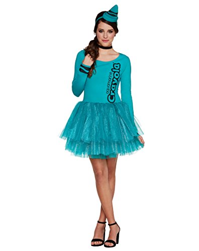 Spirit Halloween Adult Aquamarine Crayon Dress - Crayola (Aqua Crayon)