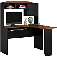 Brand New Mainstays L-Shaped Desk with Hutch Includes a slide out keyboard tray, Black & Cherry