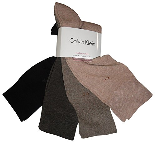 Calvin Klein Knit Crew Socks 4-Pack, One Size, Assorted Browns