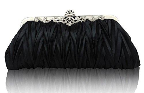 Qingsun Womens Vintage Satin Cocktail Party Handbag Wedding Bag Shoulder Chain(Black)