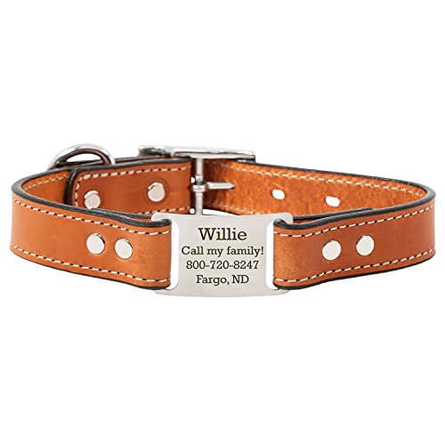 London Tan Personalized English Bridle Leather Dog Collar with Engraved ScruffTag Nameplate - Fits Neck Sizes of 12-16 Inches