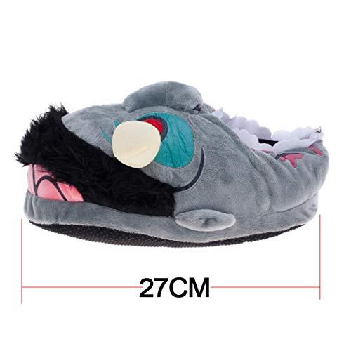 Bottes Hiver Chaussures Nouveau Intérieur Gris Confortable Animé Appartements Drôle Pantoufles Unisexe Dessin Femmes Chaud Doux q4wOg