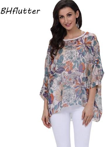 ASGHILL Boho Mujeres Camisas Batwing Mangas de Estampado Floral Casual Blusa de Gasa Camisa Estilo de Verano Tops de Gasa Blusas: Amazon.es: Deportes y aire libre
