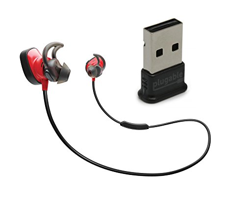 Bose SoundSport Pulse Wireless In-Ear Headphones, Red, with Plugable USB 2.0 Bluetooth Adapter (USB-BT4LE) by Bose