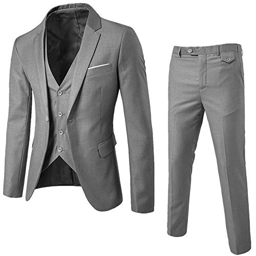 Realdo Mens 3 Pieces Suit, Mens One Button Blazer Set Business Wedding Party Jacket Vest & Pants Grey
