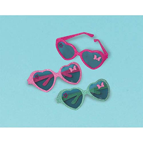 Disney Minnie Mouse Heart Eye Glasses Birthday Party Accessory Favour and Prize Giveaway (6 Pack), Multi Color, 6.8