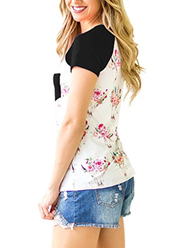 HOTAPEI-Women-Casual-Floral-Print-Short-Sleeve-Pocket-Blouse-Tops