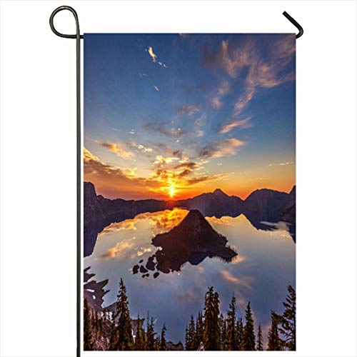Ahawoso Outdoor Garden Flag 28x40 Inches Cinder Glorious Crater Lake Sunrise Light Nature 5Dsr Parks Cone Island Leclerc Design USA Seasonal Home Decorative House Yard -