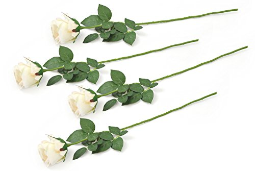 home & kitchen, home décor, artificial plants & flowers,  artificial flowers  picture, DII 4 Piece Artificial Closed Rose » Natural Silk Flowers For Bridal Bouquet, Home Decoration, DIY, Arts & Crafts Project, Garden, Office Decor, Centerpiece Décor » Cream in US5