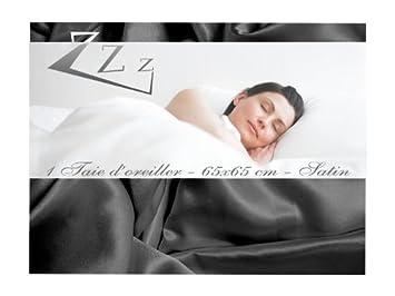 taie d oreiller satin noir Soleil d'Ocre 553062 Taie d'Oreiller Satin Noir 65 x 65 cm: Amazon  taie d oreiller satin noir