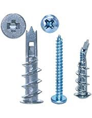 Drywall Anchors, Self Drilling Drywall Hollow-Wall Anchor Kit with Screws, 25 Screws & 25 Self Drilling Zinc Drywall Anchors, for Screws Professional and Home Use (50PCS Long)