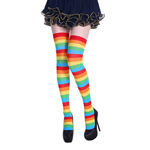 Unique Clown Costumes (Women's Striped Stockings Knee High Socks Halloween Costume Accessories (Multicoloured))