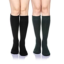 DoSmart Women's Winter Warm Knee High Socks Boot Socks 2-Pairs Multi Color