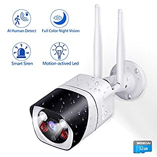 [2Way Audio] Security Camera Outdoor ,WESECUU 1080P WiFi Cameras for Home Security with Floodlight and Siren Alarm,AI Human Detection,Color Night Vision,IP66 ,24/7 Cloud/TF Card(32GB Included)
