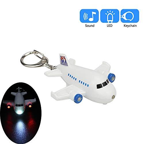 Vibola Airplane Model Keychain with LED Light Sound Keyfob,Key Holder for Children Designer Key Ring for Kids Christmas Thanksgiving Keyfob Toy Gift