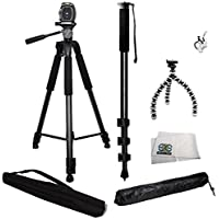 3 Piece Best Value Tripod Package for the Nikon D3000, D3100, D3200, D3300, D5000, D5100, D5200, D5300, D5500, D7000, D7100, D7200, D40, D50, D60, D70, D80, D90, D600, D610, D700, D750, D800, D800E, D810, D810A, D4, D4s & COOLPIX L840, L830, L820, L810, P600, P610, P900, P530, P520, P510, P500, L310, L120, 1 S1, S2, J1, J2, J3, J4, V1, V2, V3, AW1, P7700, P7100, P7000, P100, L110, L100, P90 & P80 - Kit Includes 1 Professional 75 Inch Tripod with Carrying Case, 1 Professional 72 Inch Monopod, 1 Extra Flexible Gripster Tripod