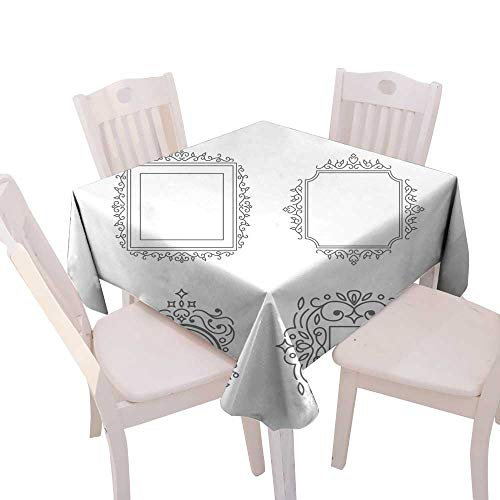 (longbuyer Wrinkle Free Tablecloths Flourishes calligraphic Monogram Square Tablecloth W 50