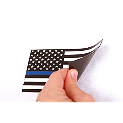 Thin Blue Line American Flag Magnet Decal 5 inch x 3 Inch 2 Pack - Heavy Duty for Car Truck SUV - in Support of Police and Law Enforcement Officers: Automotive