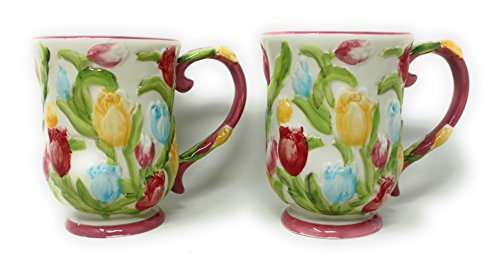 (Temp-tations S/2 Coffee Mugs, TWO Cafe Mug Set, 12 oz Pedestal Cup)