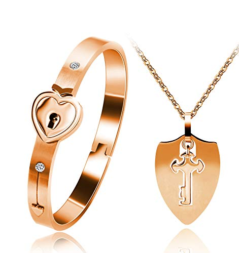 Uloveido Shield Key Necklace and Heart Lock Bracelet for Couples Jewelry Set You Hold The Key to My Heart Rose Gold Color Bracelet Necklace Set for Men and Women Y473 - Heart Lock Bracelet