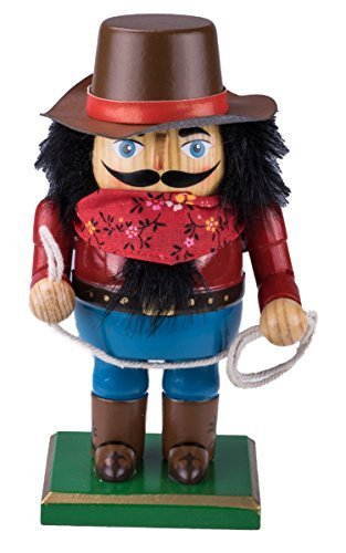 [Chubby Cowboy Nutcracker Decoration Figure with Hat, Bandanna, Boots, & Lasso - 7.25