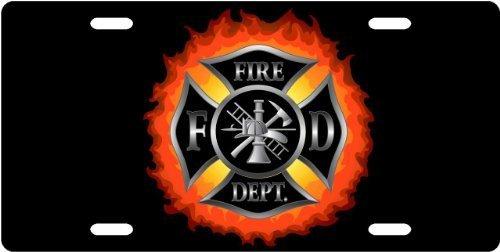 (Fire Dept Emblem in Flames License Plate Novelty Tag from Redeye Laserworks)