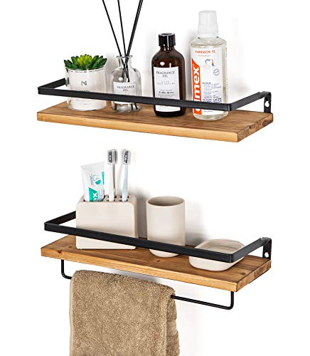 SODUKU Floating Shelves Wall Mounted Storage Shelves for Kitchen, Bathroom,Set of 2 Carbonized Black (Best Floating Shelves For Kitchen)