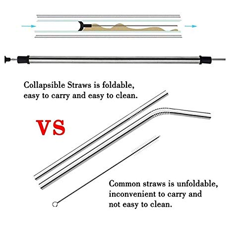 Milkshakes Cocktails and Smoothies 2 pack By Newburst Stainless steel 10.5 inches Good for travel Metal Reusable Drinking Straw with Case and Cleaning Brush- Eco-Friendly-BPA free