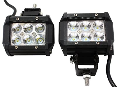 "AXR No.1 4x 4"" 18W 2017 CREE LED Super Spot Work Lights for UTV SUV Off-Road Boats Jeeps RZR Driving Fog Light Rock and Bumper Light Comes with Dual Mounting Brackets (2 Pair)"