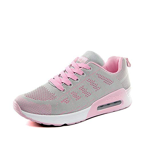PAMRAY Women's Running Shoes Tennis Athletic Jogging Sport Walking Sneakers Gym Fitness Golf Grey-Air Cushion 36