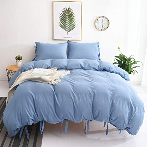 M&Meagle Duvet Cover Sky Blue,Solid Color Bowknot Design,100% Microfiber Treated by Washed Cotton Process,Feels Like a Very Soft Cotton-Queen Size(3Pcs,1 Duvet Cover 2 Pillowcases)