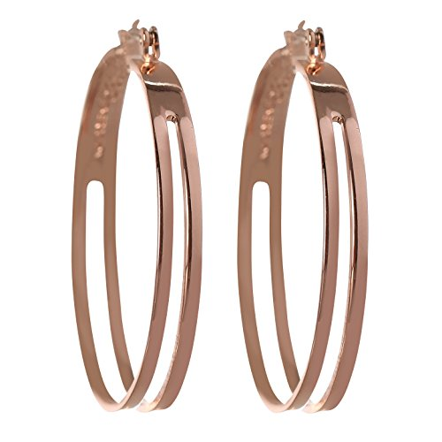 BCBG Generation Rose Gold 2 Row Hoop Earrings (Rose Gold 2 Row)