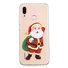Red Christmas Huawei P20 Lite Case,Ostop Soft TPU Crystal Clear Ultra Thin Phone Case Gifts Santa Claus Cute Pattern Slim Fit Transparent Cover Huawei P20 Lite